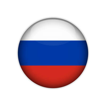 Flag of Russia on a button. Vector