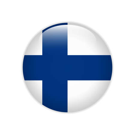 Finnland-Flagge auf Knopf