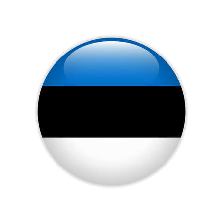 Estonia flag on button Stock Illustratie