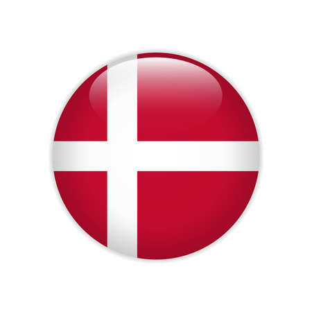 Denmark flag on button Stock Illustratie