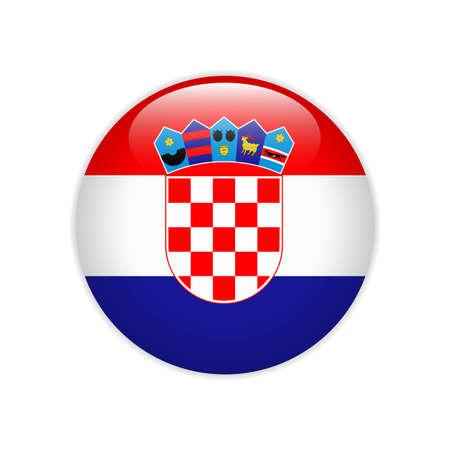 Croatia flag on button Stock Vector - 115916920