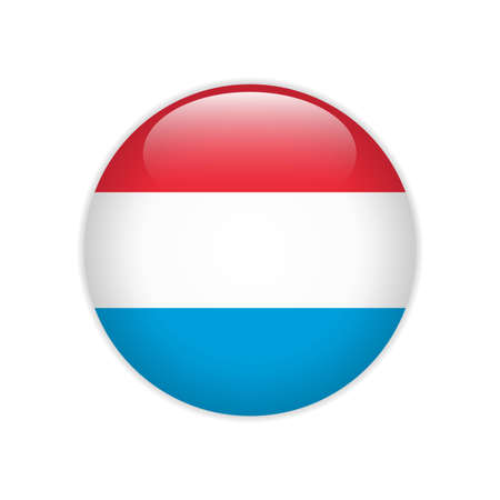 Luxembourg flag on button Stock Illustratie