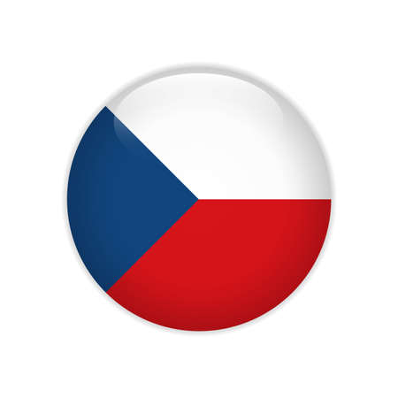 Czech Republic flag on button Stock Illustratie