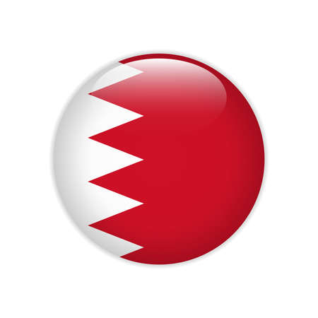 Bahrain flag on button Stock Illustratie