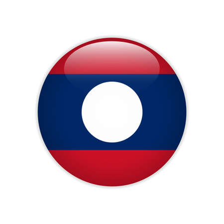 Laos flag on button Stock Illustratie
