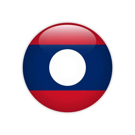 Laos flag on button Illustration
