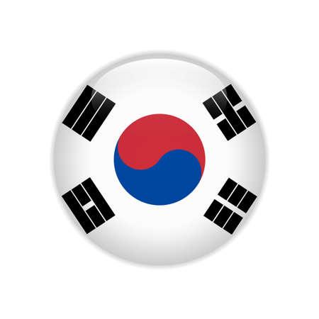 South Korea flag on button Illustration