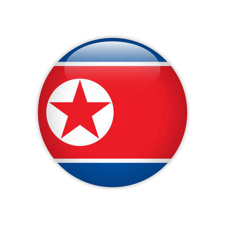North Korea flag on button Stock Illustratie