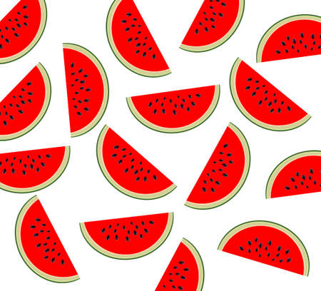 Watermelon pattern. Sliced watermelon on transparent background. Flat lay top view Illustration
