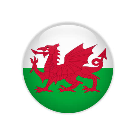 Wales flag on button Illustration