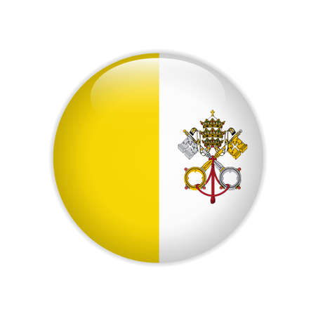 Vatican City flag on button Vectores