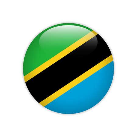 Tanzania flag on button Vektorgrafik