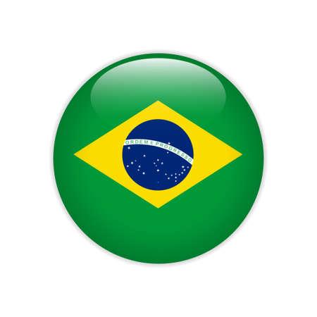 Bandera de Brasil en el botón Ilustración de vector