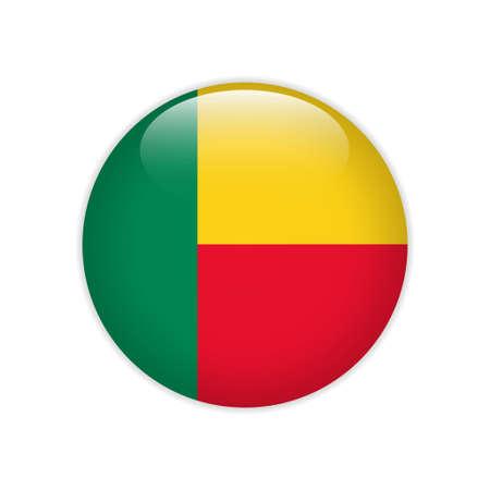Benin flag on button Illustration