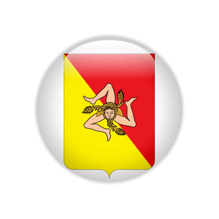 Flag Coat of arms of Sicily on button