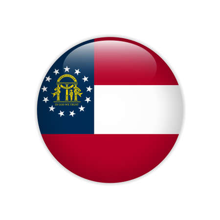 Flag Georgia  U.S. state button Foto de archivo - 122122370