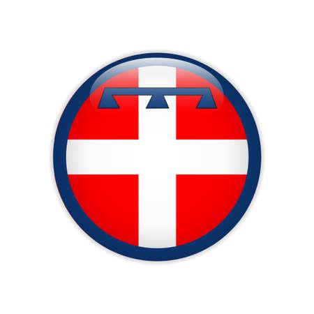 Flag of Piedmont button Ilustração