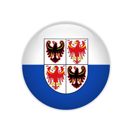 Flag of Trentino-South Tyrol button Иллюстрация