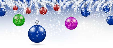 Merry Christmas balls background. Festive xmas decoration Vektorové ilustrace