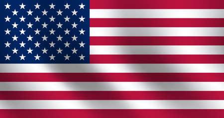 Waving flag of United States. Vector illustration