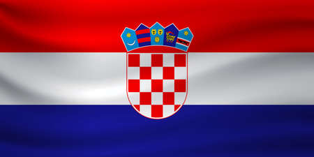 Waving flag of Croatia. Vector illustration
