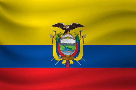 Waving flag of Ecuador. Vector illustration