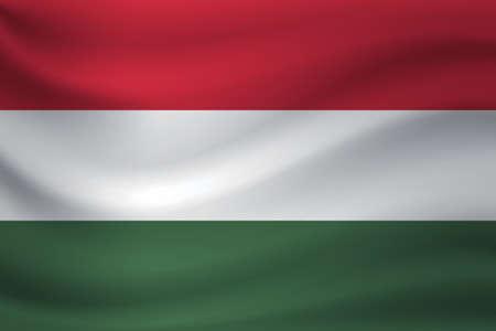 Waving flag of Hungary. Vector illustration Illusztráció