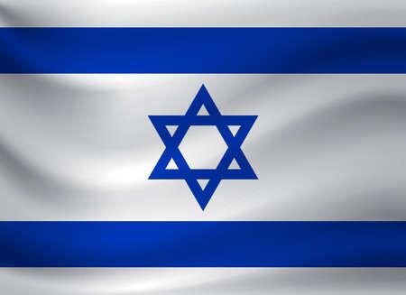 Waving flag of Israel. Vector illustration Ilustracja