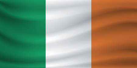 Waving flag of Ireland. Vector illustration