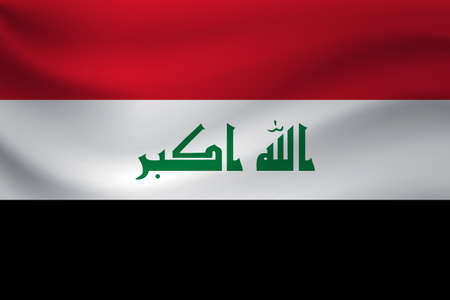 Waving flag of Iraq. Vector illustration