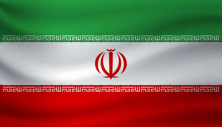 Waving flag of Iran. Vector illustration