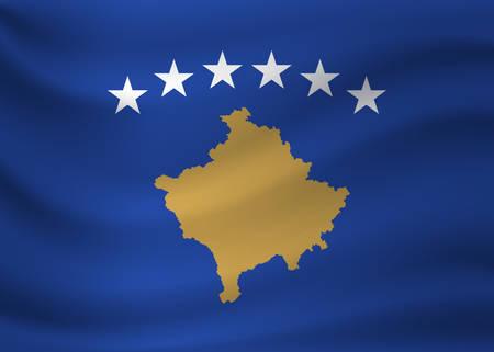 Waving flag of Kosovo. Vector illustration