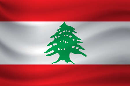 Waving flag of Lebanon. Vector illustration