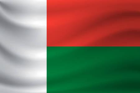 Waving flag of Madagascar. Vector illustration Иллюстрация