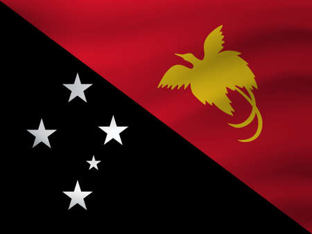 Waving flag of Papua New Guine. Vector illustration Ilustração