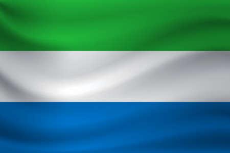 Waving flag of Sierra Leone. Vector illustration