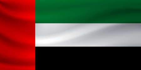 Waving flag of United Arab Emirates. Vector illustration