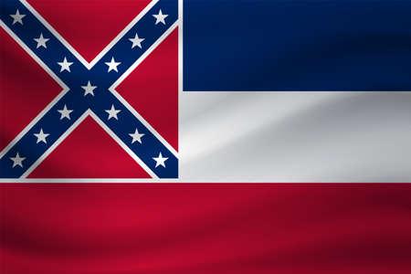 Waving flag of Mississippi. Vector illustration