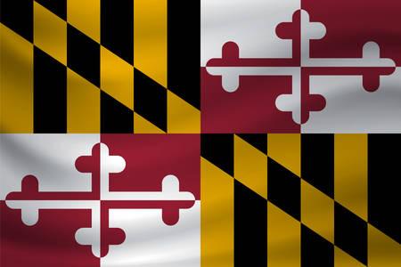 Waving flag of Maryland. Vector illustration