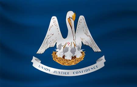 Waving flag of Louisiana. Vector illustration Vecteurs