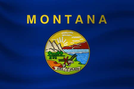 Waving flag of Montana. Vector illustration Векторная Иллюстрация
