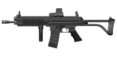 Vector illustration of a machine gun xcr