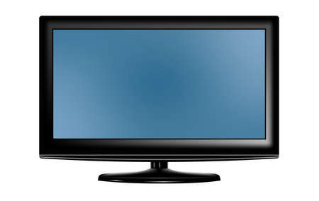 Black LED television screen blank on background. Vector