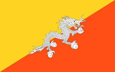 flag Bhutan. Vector illustration Ilustração