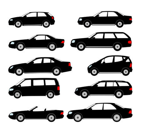 Cars isolated on white background. Ready to apply to your design. Vector illustration