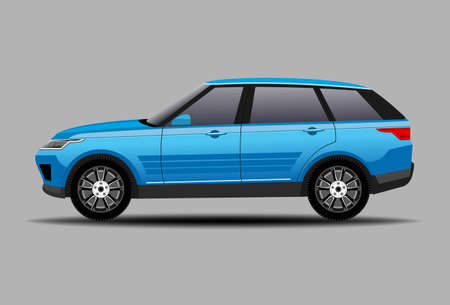 Car SUV in blue color vector illustration 일러스트