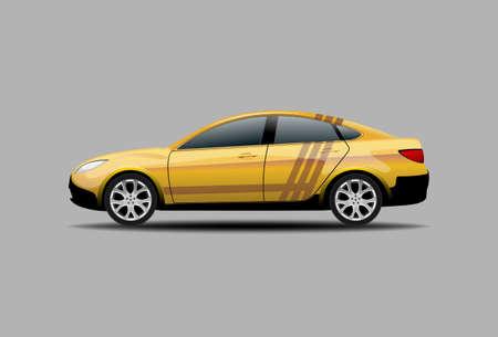 Yellow Sedan Car Isolated side view 向量圖像