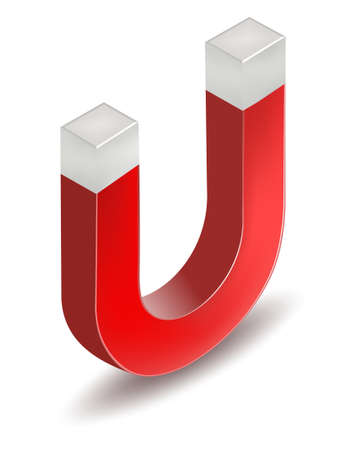 Red horseshoe magnet. U-shaped magnet icon. Vector illustration 向量圖像
