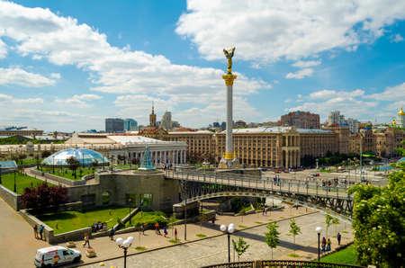 KYIV, UKRAINE - JUNE 16, 2016 View of Independence Square (Maidan Nezalezhnosti) in Kiev, Ukraine
