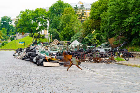 KYIV, UKRAINE - JUNE 16, 2014 The central street of the city after the storming of the barricades during the EuroMaidan
